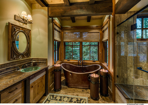 Master bath spas don't have to be white.