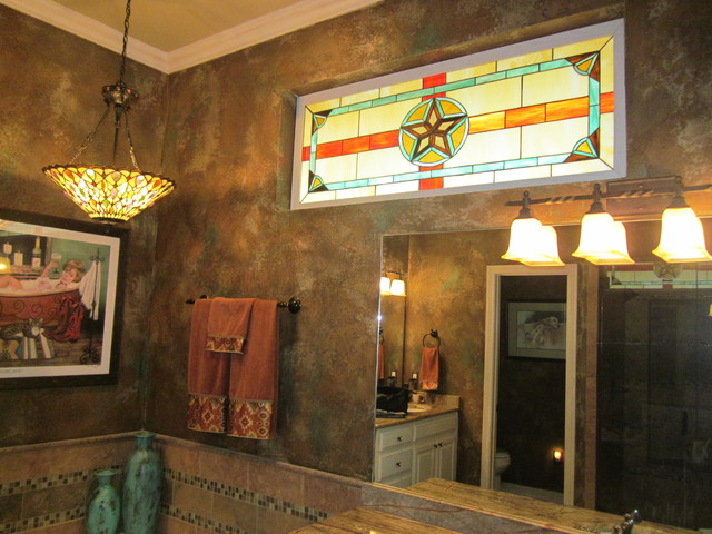Texas Star Stained Glass Window For Master Bathroom