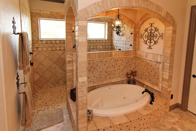 Texas tudor master bath traditional bathroom for Tudor bathroom design