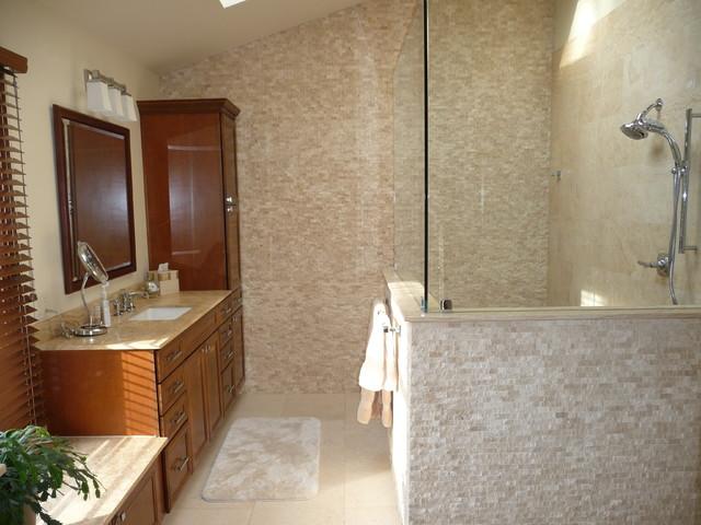 Texture And Travertine Modern Bathroom