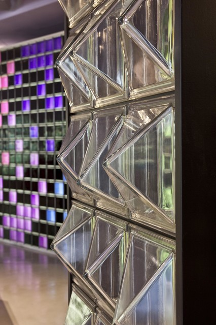 Textured Architectural Glass Block Partition Wall