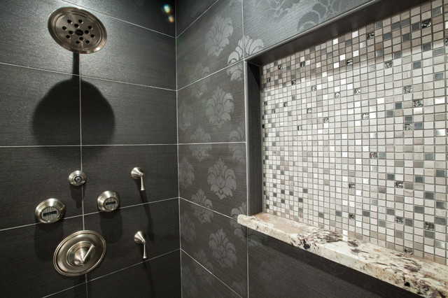 Textured tile in black and white bathroom traditional-bathroom