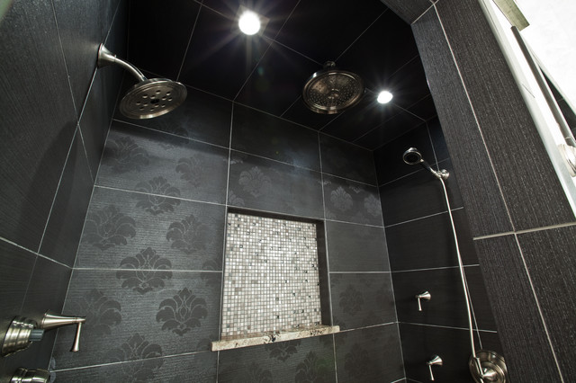 textured tile in black and white bathroom