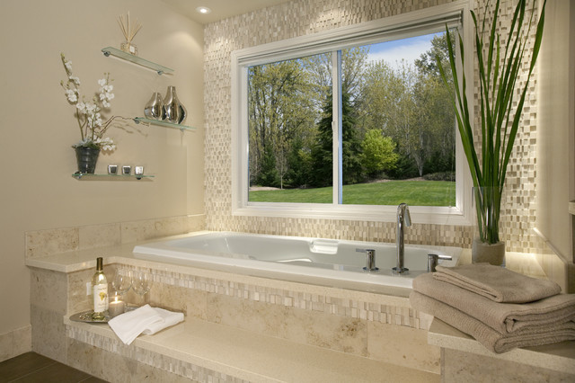 Awesome Textured Tub Wall Contemporary Bathroom