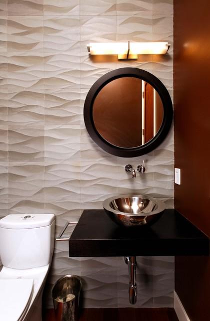 Textured Wall Contemporary Bathroom
