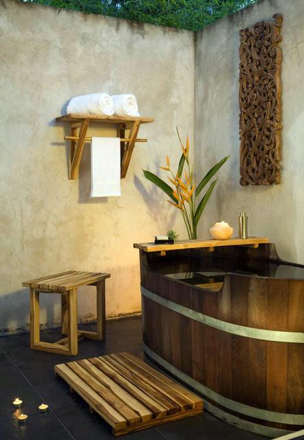Thailand indoor outdoor bath room asian bathroom other by haussmann inc for Teak wood bathroom accessories