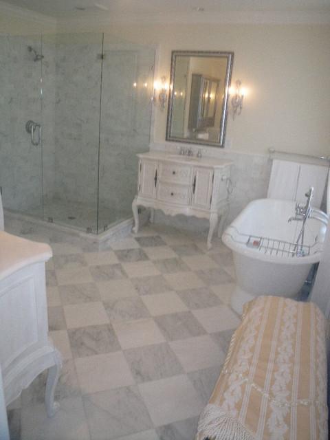 Thassos Marble Checker Board Master Bathroom Traditional Bathroom