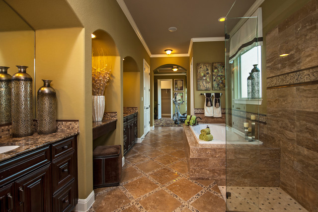 Example of a classic travertine tile brown floor bathroom design in Austin with granite countertops and brown countertops