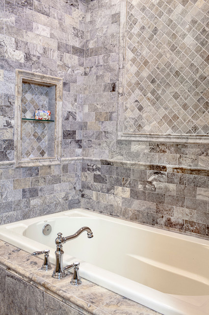 The Claros Silver Travertine Collection Bathroom