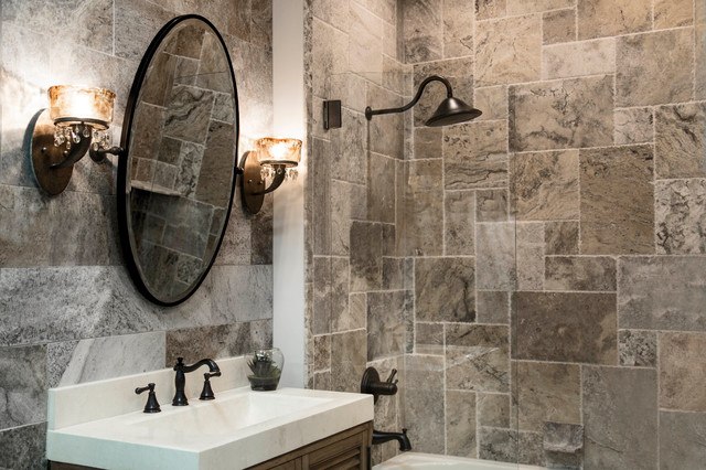 The Claros Silver Travertine Collection Transitional Bathroom