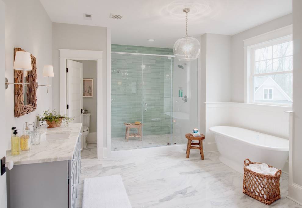 Example of a transitional master green tile marble floor and gray floor bathroom design in Richmond with gray cabinets and gray walls