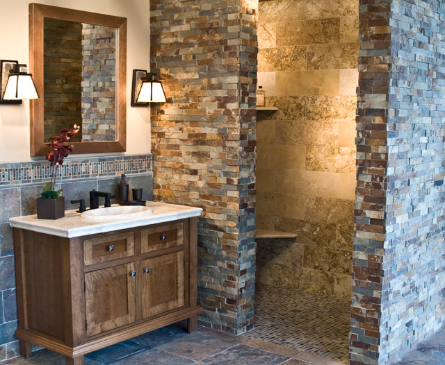 The copper rust slate collection rustic bathroom for Cabin shower tile ideas
