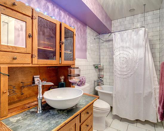 Farmhouse Vessel Sink : farmhouse bathroom Bath Design Photos with Ceramic Floors, a Vessel ...