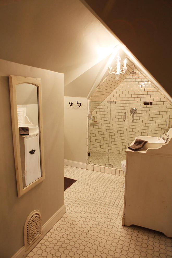 Inspiration for a mid-sized country 3/4 white tile ceramic tile bathroom remodel in Austin with white walls