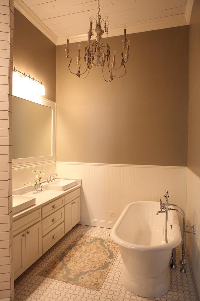 Mid-sized farmhouse master white tile ceramic tile bathroom photo in Austin with white walls