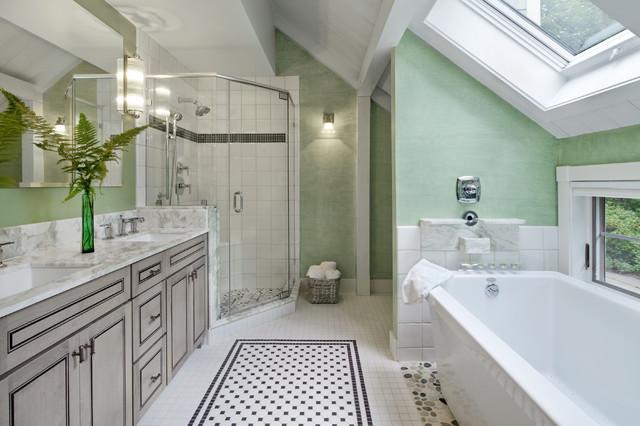 Large Elegant Master Black And White Tile And Porcelain Tile Porcelain Floor  And Multicolored Floor Bathroom