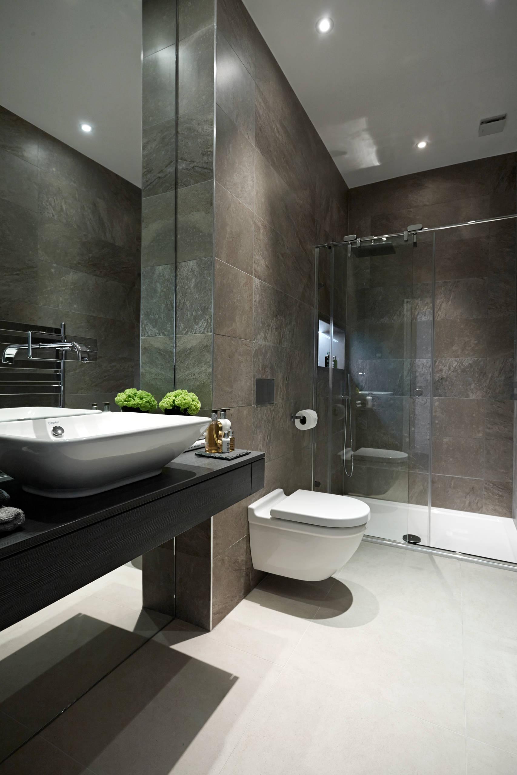 Dark Tiled Bathroom Houzz