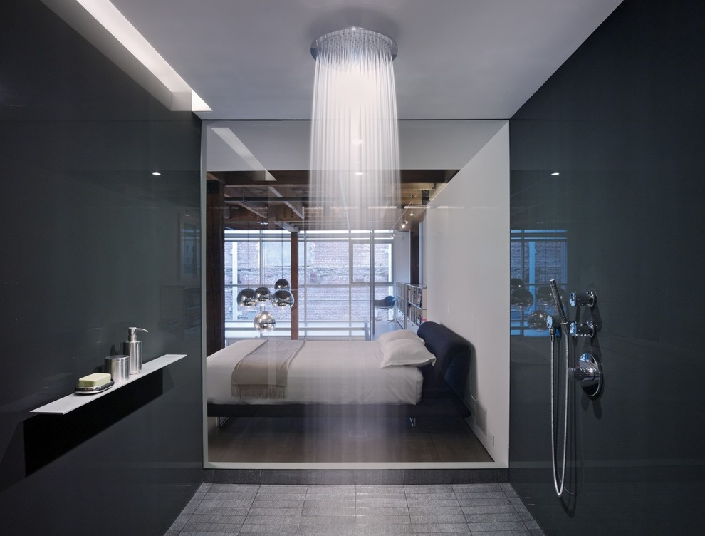 Example of a trendy black tile and glass sheet doorless shower design in Atlanta