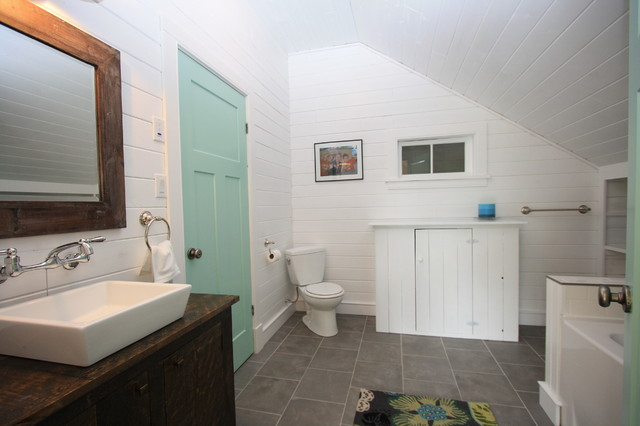 White Rustic Bathroom the lakehouse - rustic - bathroom - montreal -white pine lumber