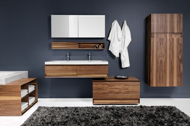 The M Collection Natural Walnut Finish Modern Bathroom