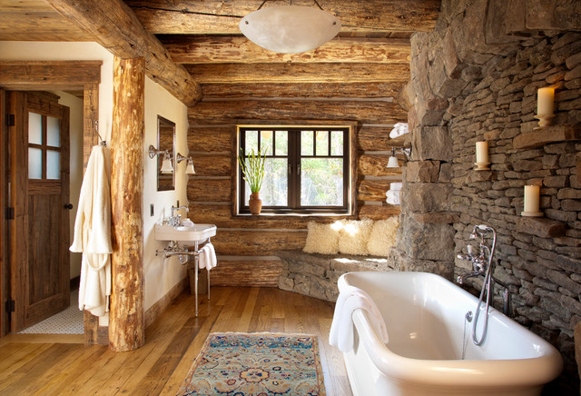 Mountain style freestanding bathtub photo in Other with a console sink Small Log Cabin Bathrooms  Houzz