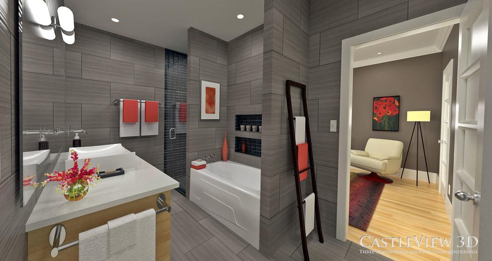 Foto de cuarto de baño minimalista, de tamaño medio, con lavabo sobreencimera, armarios con paneles lisos, puertas de armario de madera clara, encimera de cuarzo compacto, bañera empotrada, ducha empotrada, baldosas y/o azulejos grises, baldosas y/o azulejos de porcelana, paredes grises y suelo de baldosas de porcelana