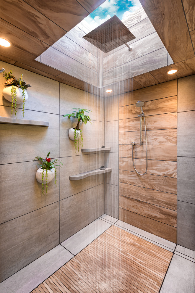 Bathroom - large modern master gray tile and ceramic tile ceramic tile and gray floor bathroom idea in Minneapolis with flat-panel cabinets, dark wood cabinets, a one-piece toilet, white walls, a vessel sink and concrete countertops