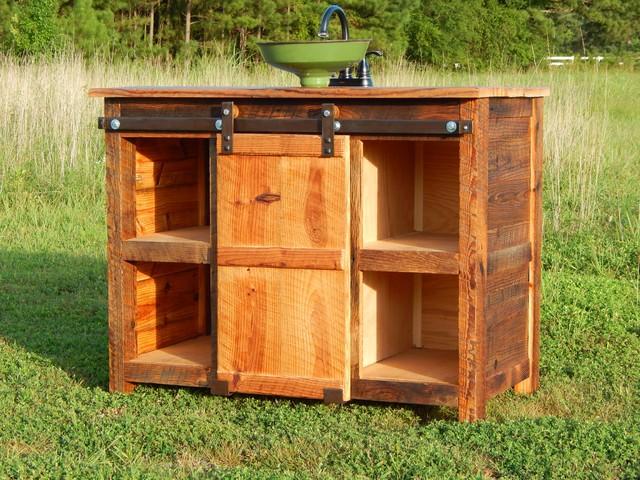 The Rusted Nail Barn Door Vanity - Farmhouse - Bathroom ...