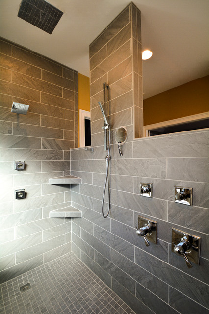 Transitional gray tile doorless shower photo in Other with furniture-like cabinets, gray cabinets, granite countertops and an undermount sink