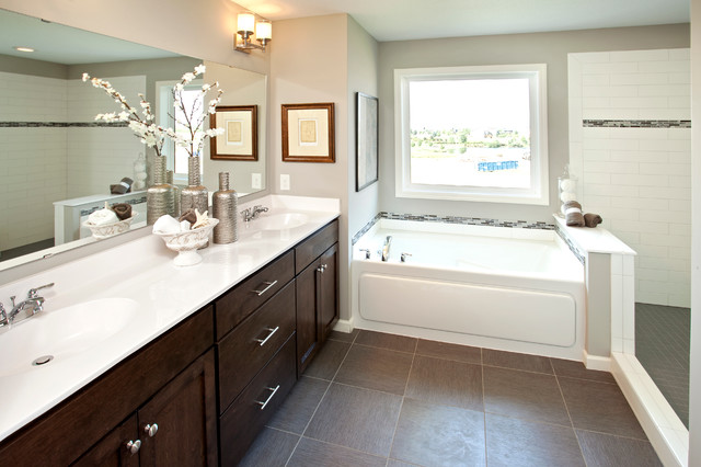 example of a classic bathroom design in minneapolis with an integrated sink shaker cabinets