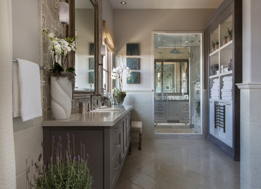 Large transitional master gray tile, white tile and mosaic tile ceramic tile and gray floor alcove shower photo in Orange County with shaker cabinets, gray cabinets, a two-piece toilet, gray walls, an undermount sink, quartz countertops and a hinged shower door
