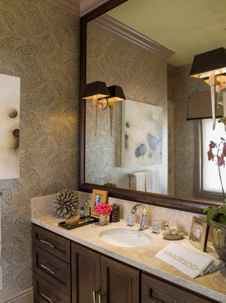 Example of an eclectic bathroom design in San Francisco with an undermount sink