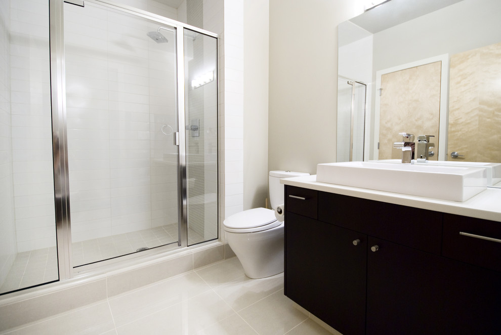 Example of a trendy bathroom design in Calgary with a vessel sink