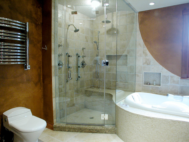 The Warmth of Wood traditional-bathroom