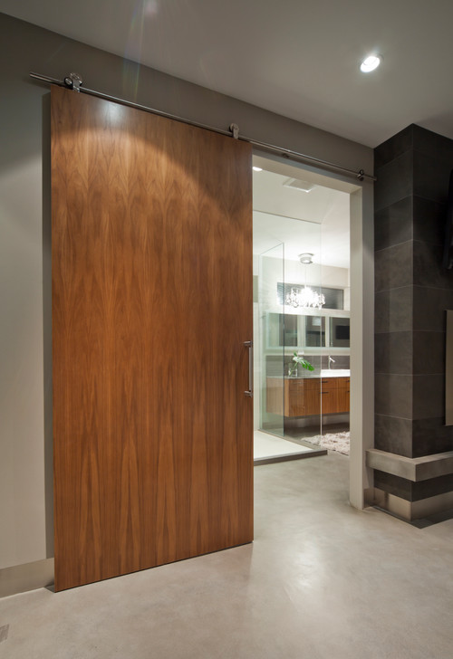 Privacy with the hanging sliding door for Barn door bathroom privacy