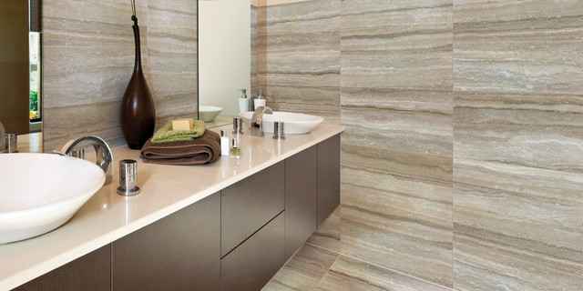 By savoia modern travertine stone look tile contemporary bathroom
