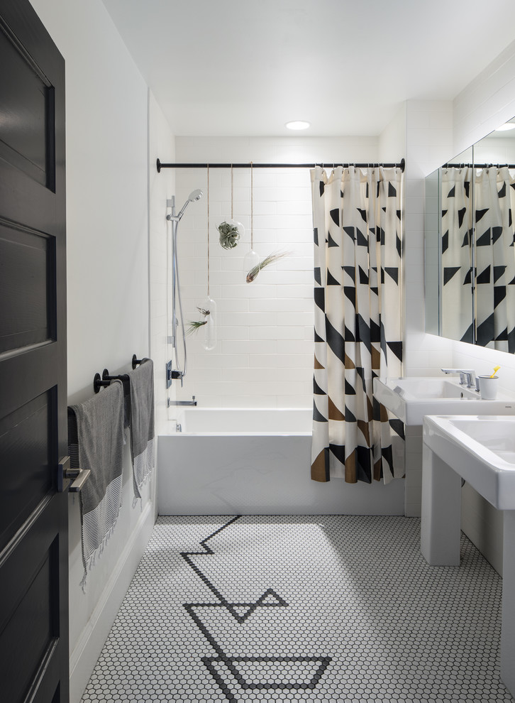 Inspiration for a mid-sized contemporary master white tile mosaic tile floor and multicolored floor bathroom remodel in Denver with white walls and a pedestal sink