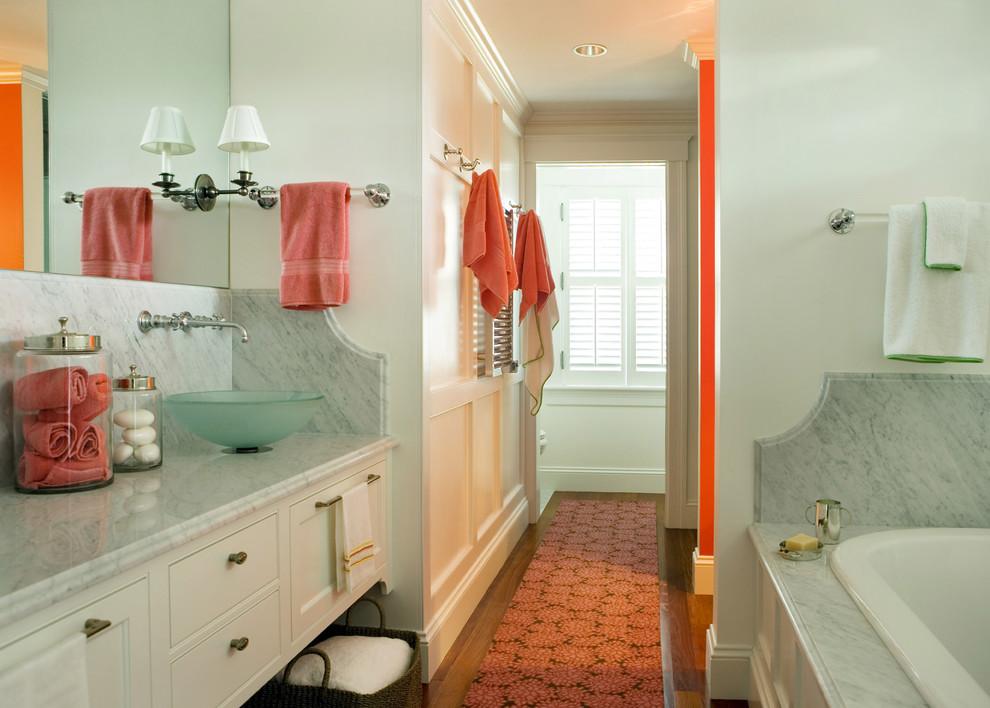 Bathroom - modern bathroom idea in Boston with a vessel sink