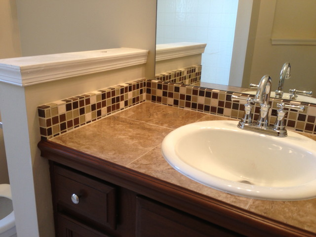 Tile Countertop and Backsplash - Traditional - Bathroom ...