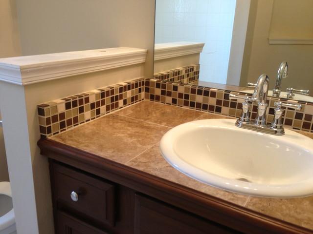 Tile countertop and backsplash traditional bathroom for Mosaic tile vanity top