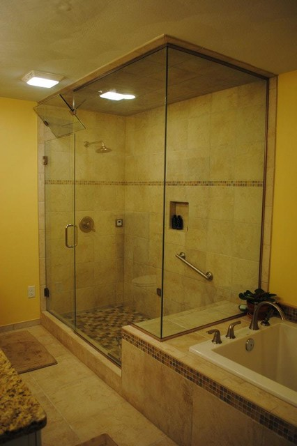 Tile Floor, Tub Surround, and Shower with Glass Deco Tile, White ...