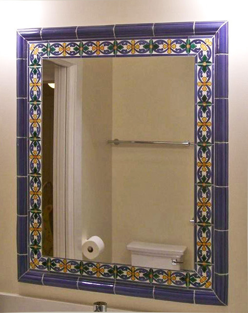 Tile Framed Mirror Mediterranean Bathroom