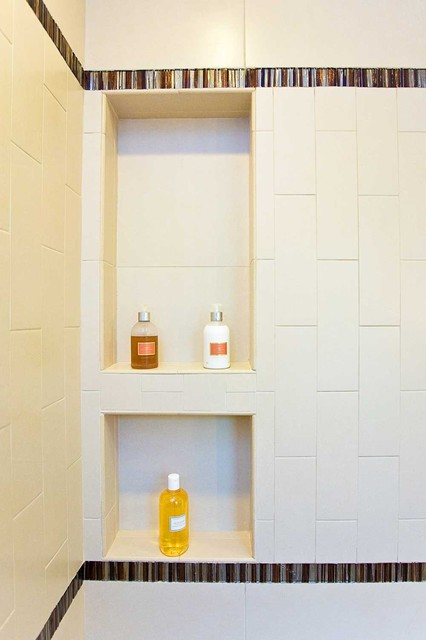 Tile niche in bay area bathroom remodel for Bay area bathroom remodel