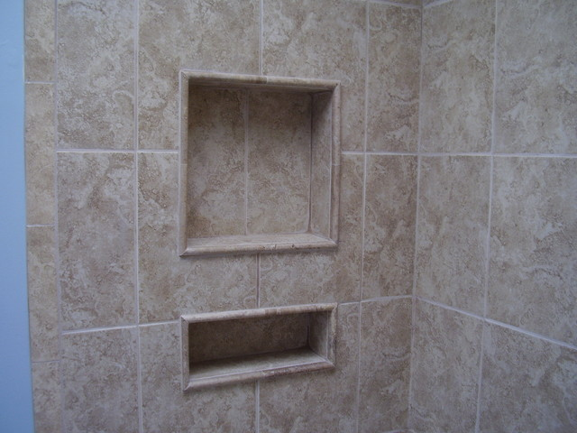 Tile Pencil Molding Contemporary Bathroom Raleigh