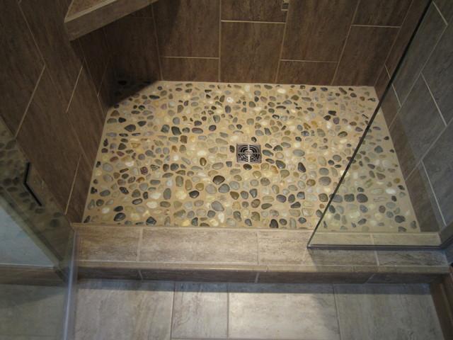 Captivating Tile Shower Floor River Rock Contemporary Bathroom Part 9