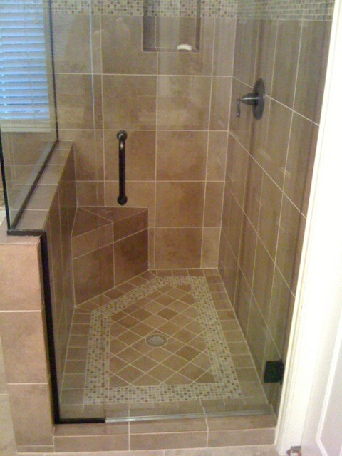 Tile shower floor with design traditional bathroom for Bathroom floor tile ideas