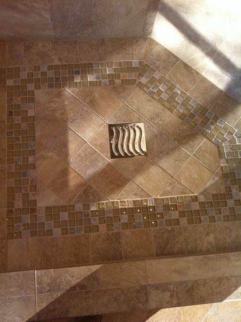 Tile shower floor with mosaic design. - Bathroom - Dallas - by Star ...