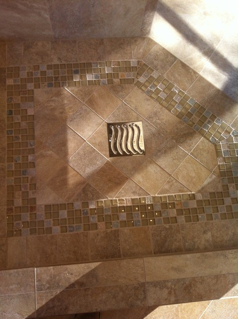 Tile shower floor with mosaic design bathroom other Mosaic tile designs for shower