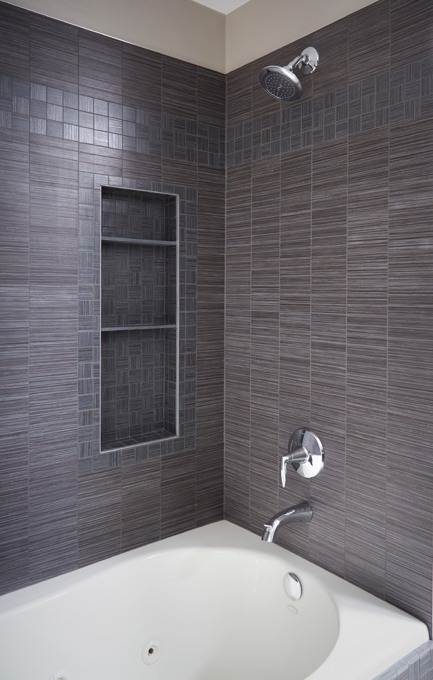 Tile Shower With Storage And Polished