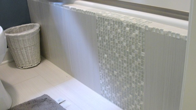 Tile side of tub transitional bathroom raleigh by for Bathroom designs for 7x4